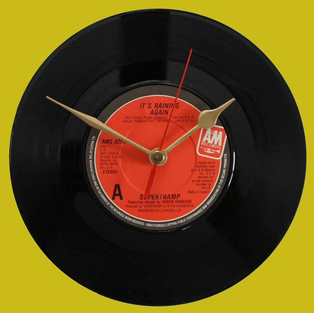 supertramp it 39 s raining again vinyl clocks. Black Bedroom Furniture Sets. Home Design Ideas